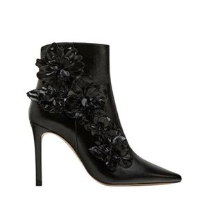 Zara Flower Patent Leather Ankle Boots Sz 37
